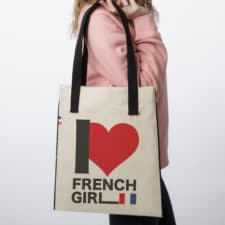 Sac tote bag en tissu I love French