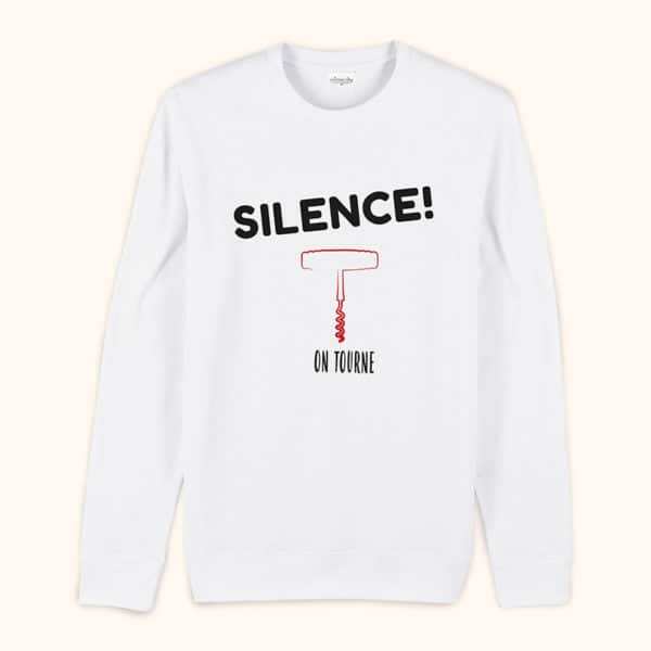 Sweat original homme Silence on tourne