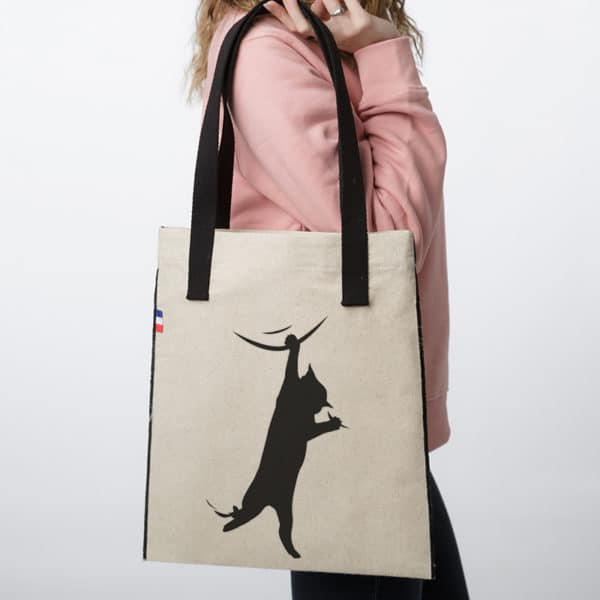 Sac tote bag en tissu Chat Acrobate
