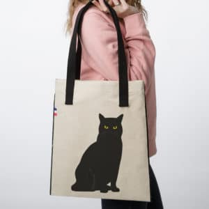 TB CHAT NOIR ASSIS 300x300 - Tote Bag tissu Chat #1