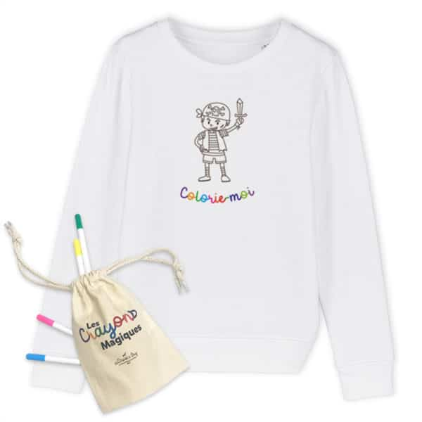 Sweat enfant à colorier Pirate